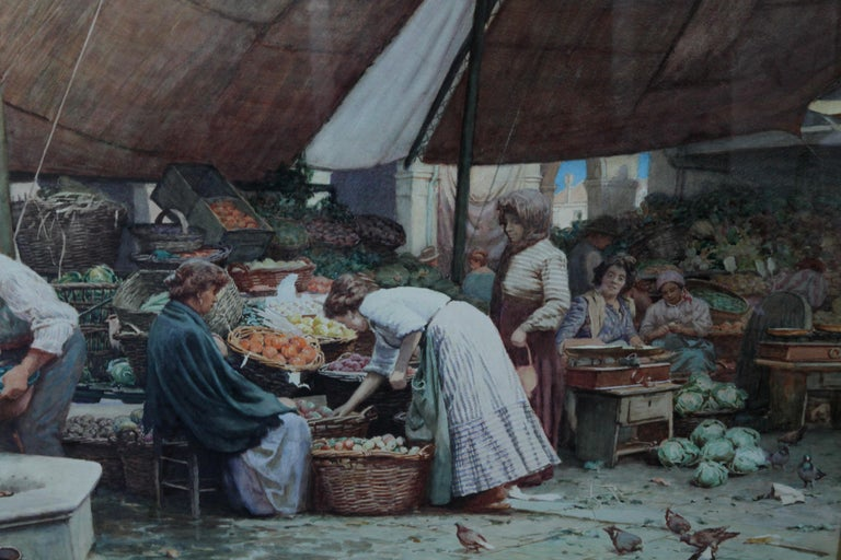 The Market Place Venice - British Victorian art painting market sellers Italy  For Sale 4