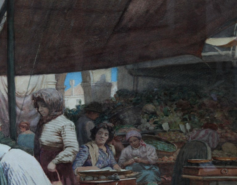 The Market Place Venice - British Victorian art painting market sellers Italy  For Sale 5