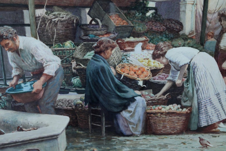 The Market Place Venice - British Victorian art painting market sellers Italy  For Sale 7