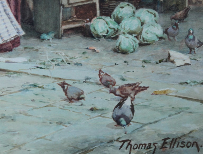 The Market Place Venice - British Victorian art painting market sellers Italy  For Sale 8