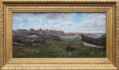 Artist at Harbour - British Victorian art oil painting northeast coast landscape
