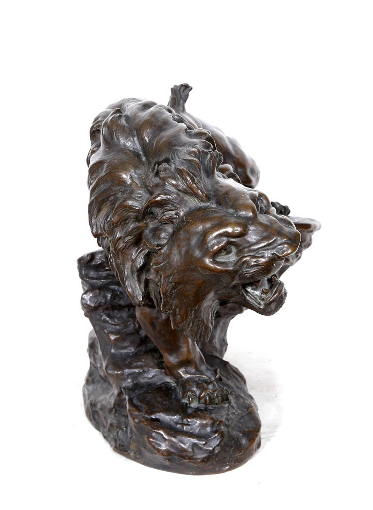 Artist: Thomas-Francois Cartier (After), French (1879 - 1943) Title: Snarling Lion Medium:Bronze Sculpture, signature inscribed Size:17  x 18.5  x 13 in. (43.18  x 46.99  x 33.02 cm)