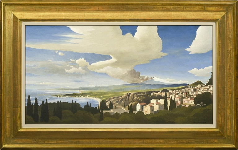 Mt. Etna from Taormina - Gray Landscape Painting by Thomas Fransioli