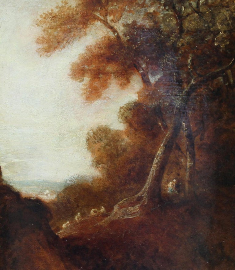 Wooded Landscape - British art 18thC Old Master oil painting trees figures - Old Masters Painting by Thomas Gainsborough (circle)
