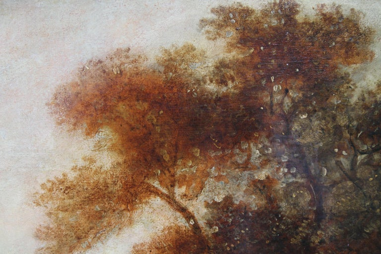 Wooded Landscape - British art 18thC Old Master oil painting trees figures For Sale 1