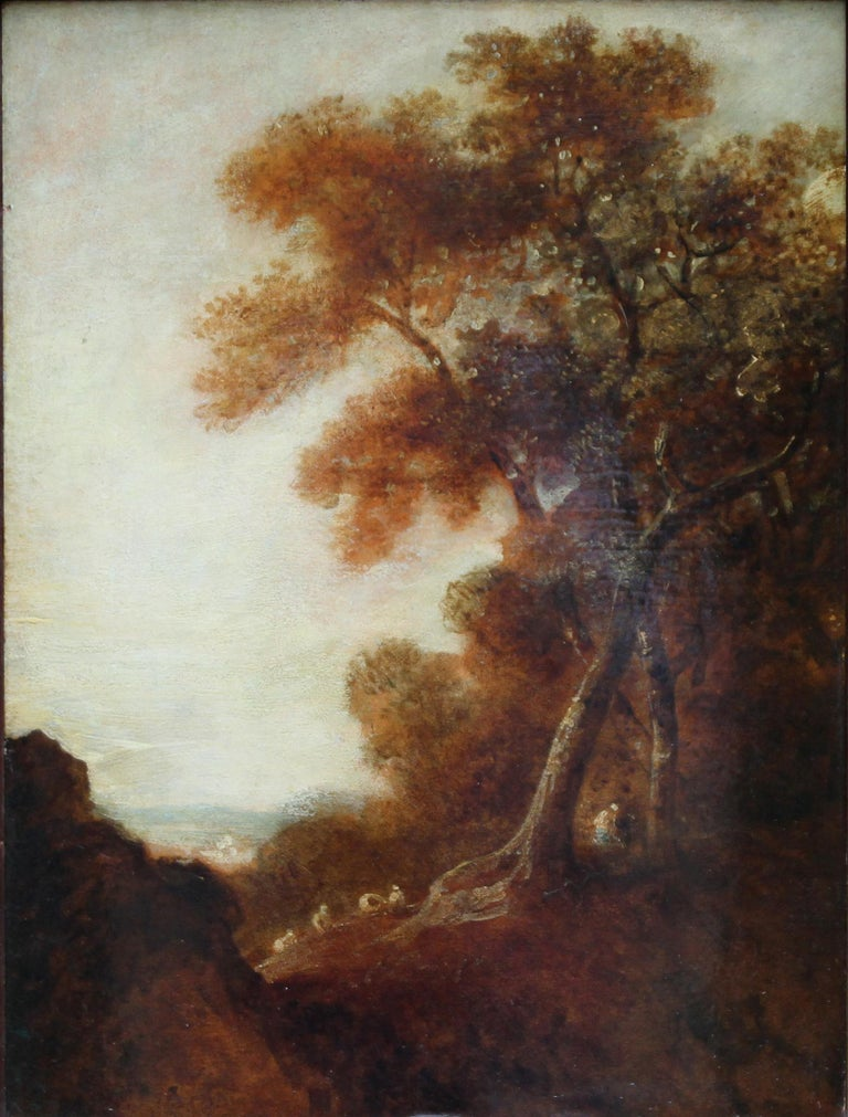 Wooded Landscape - British art 18thC Old Master oil painting trees figures For Sale 3