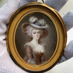 Portrait Miniatures of a Fashionable Lady, In the Style of Thomas Gainsborough