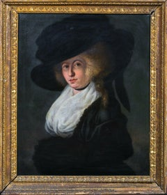 Portrait Of A Lady In A Wide Brim Hat, 18th Century