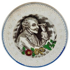 Thomas Goodwin English Staffordshire Child's ABC Bad Manners Plate, Spying