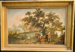 Oil painting of men shooting on horse back in landscape, English  19th century