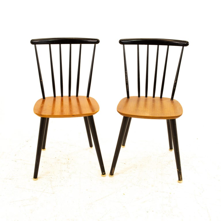 Thomas Harlev for Farstrup Mobelfabrik Danish Mid Century Dining Chairs - Pair Each chair measures: 15.75 wide x 17.75 deep x 32.5 high, with a seat height of 17.25 inches  All pieces of furniture can be had in what we call Restored Vintage