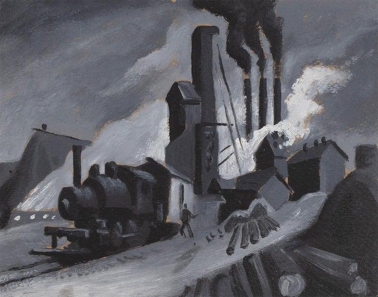 Thomas Hart Benton Landscape Painting - Study for 'Lumber Mill'