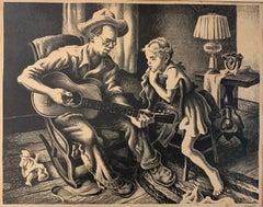 Music Lesson, American Realism Original Lithograph