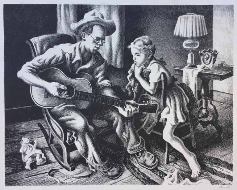 MUSIC LESSON - Print by Thomas Hart Benton