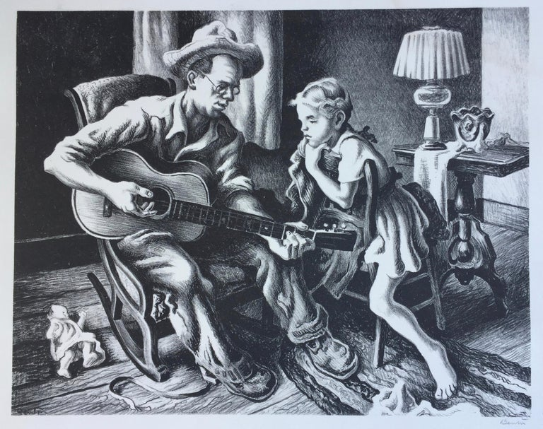 Thomas Hart Benton Figurative Print - MUSIC LESSON