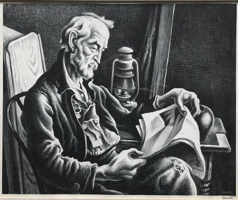 Thomas Hart Benton Figurative Print - Old Man Reading