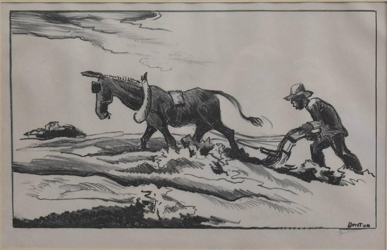 "Thomas Hart Benton Animal Painting - ""Plowing""  Great 1934 Benton Signed Lithograph"