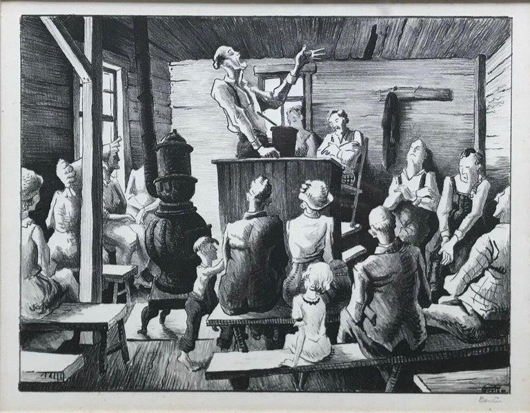 Thomas Hart Benton Figurative Print - The Meeting