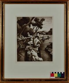 "Thomas Hart Benton, ""Down The River, 1939"" Lithograph 13 x 10 WPA MCM"