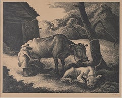 """White Calf,"" Farm Genre Scene Original Lithograph by Thomas Hart Benton"
