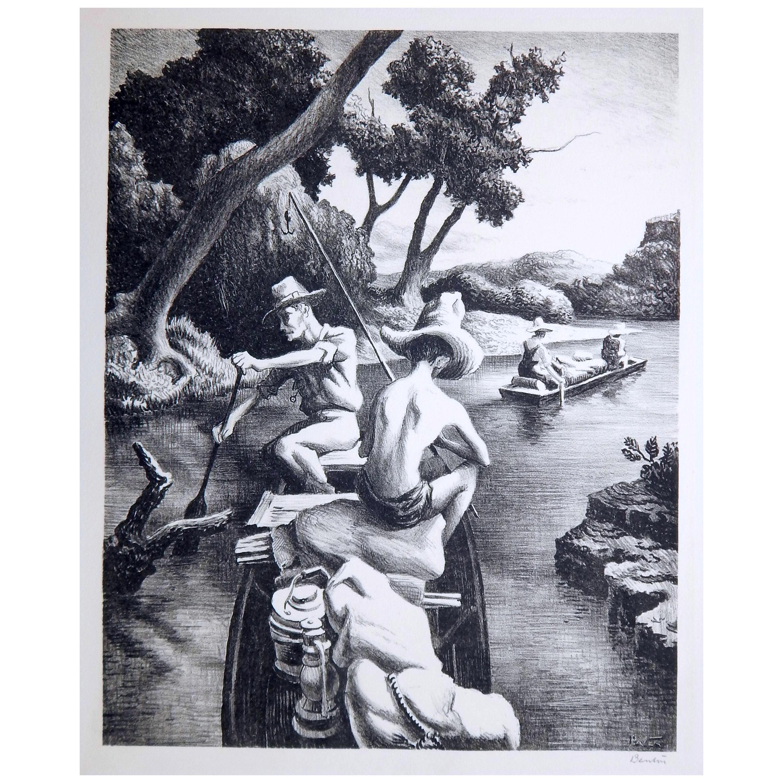 Thomas Hart Benton Lithograph, 1939, Down the River