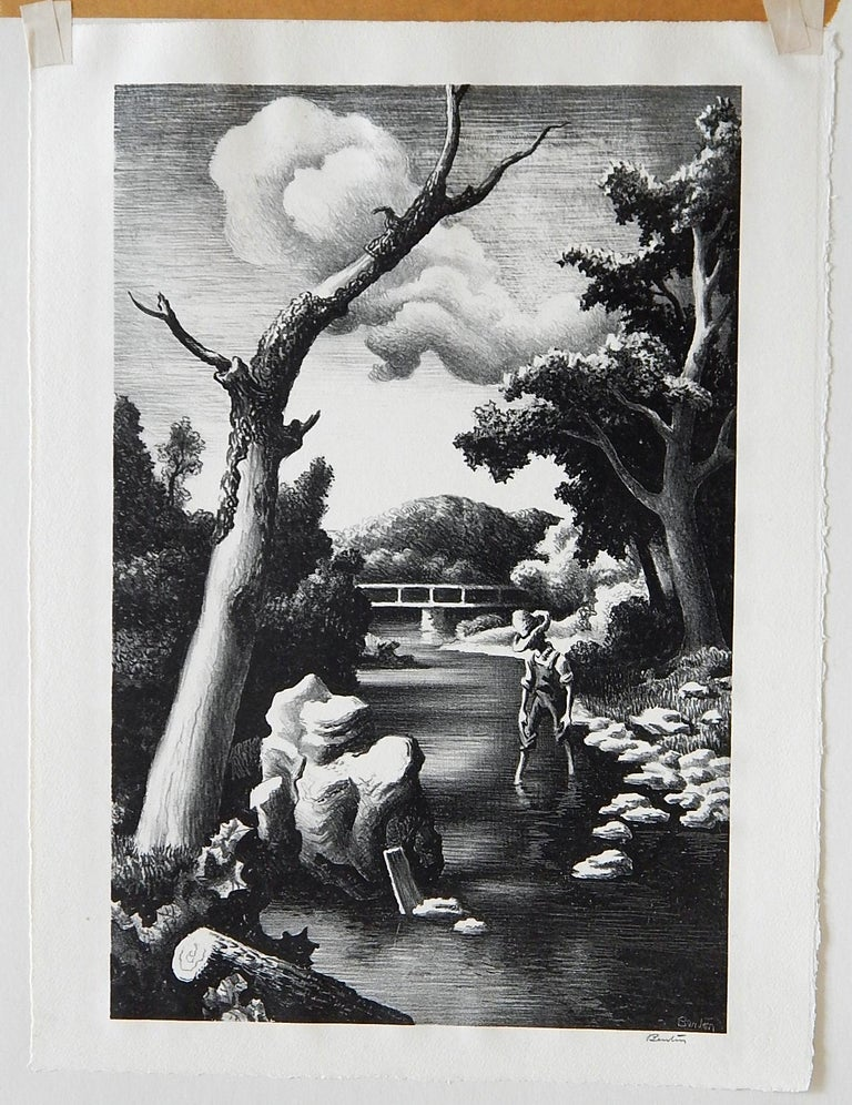 An original stone lithograph in excellent condition by well known Regionalist Thomas Hart Benton (1889-1975). Titled: