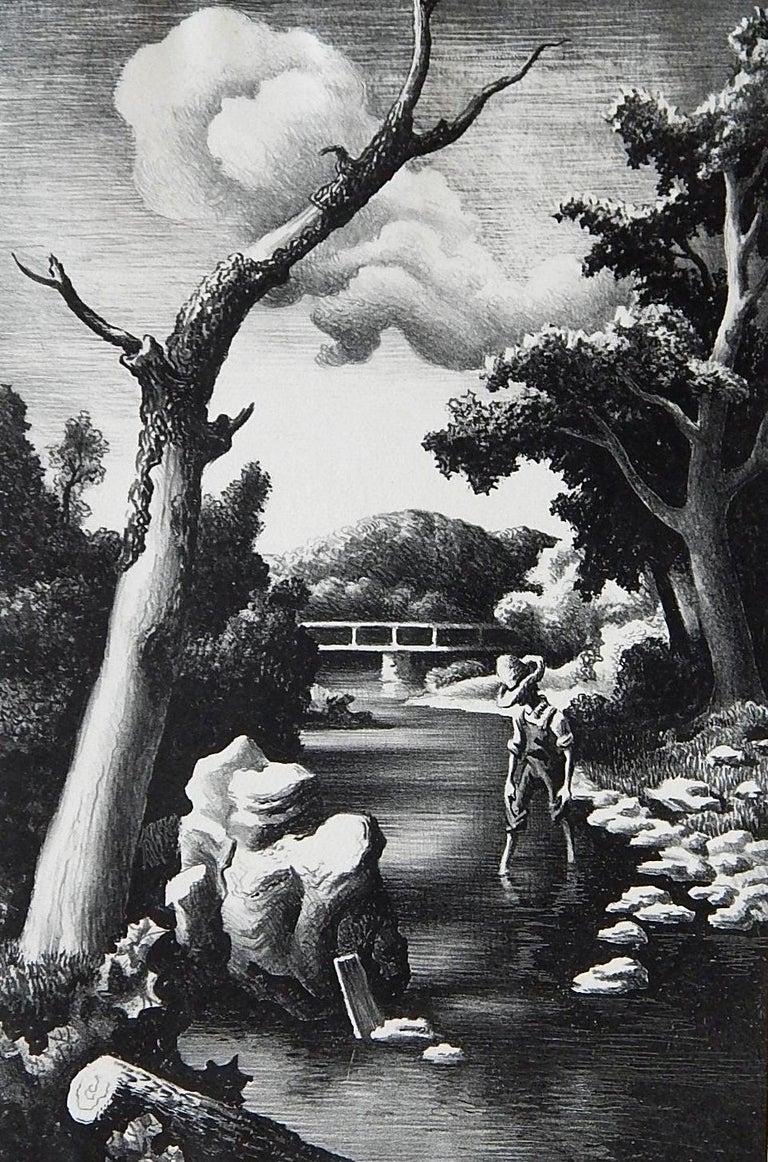 Thomas Hart Benton Original Stone Lithograph, 1939, Shallow Creek In Excellent Condition For Sale In Phoenix, AZ