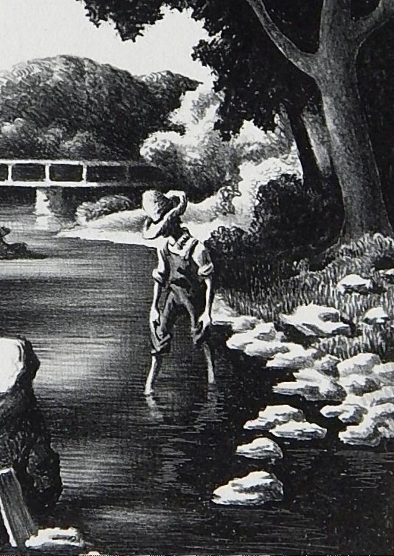 20th Century Thomas Hart Benton Original Stone Lithograph, 1939, Shallow Creek For Sale