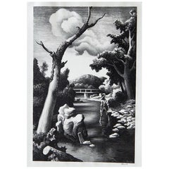 Thomas Hart Benton Original Stone Lithograph, 1939, Shallow Creek