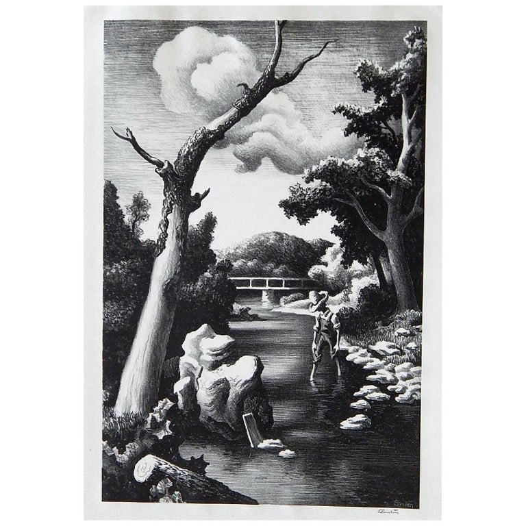 Thomas Hart Benton Original Stone Lithograph, 1939, Shallow Creek For Sale