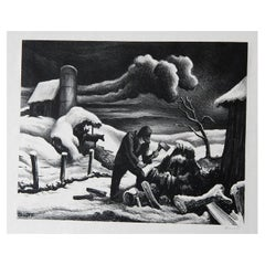 Thomas Hart Benton Original Stone Lithograph, 1939, The Woodpile