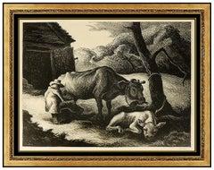Thomas Hart Benton Original Lithograph Hand Signed White Calf Illustration Art