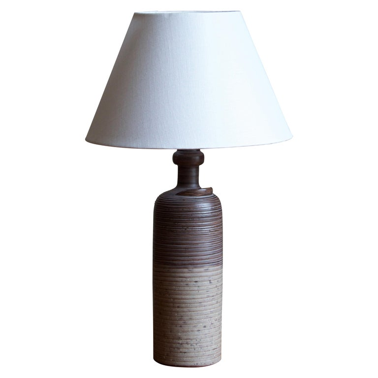 Thomas Hellström, Table Lamp, Stoneware, Brass Nittsjö, Sweden, 1960s For Sale