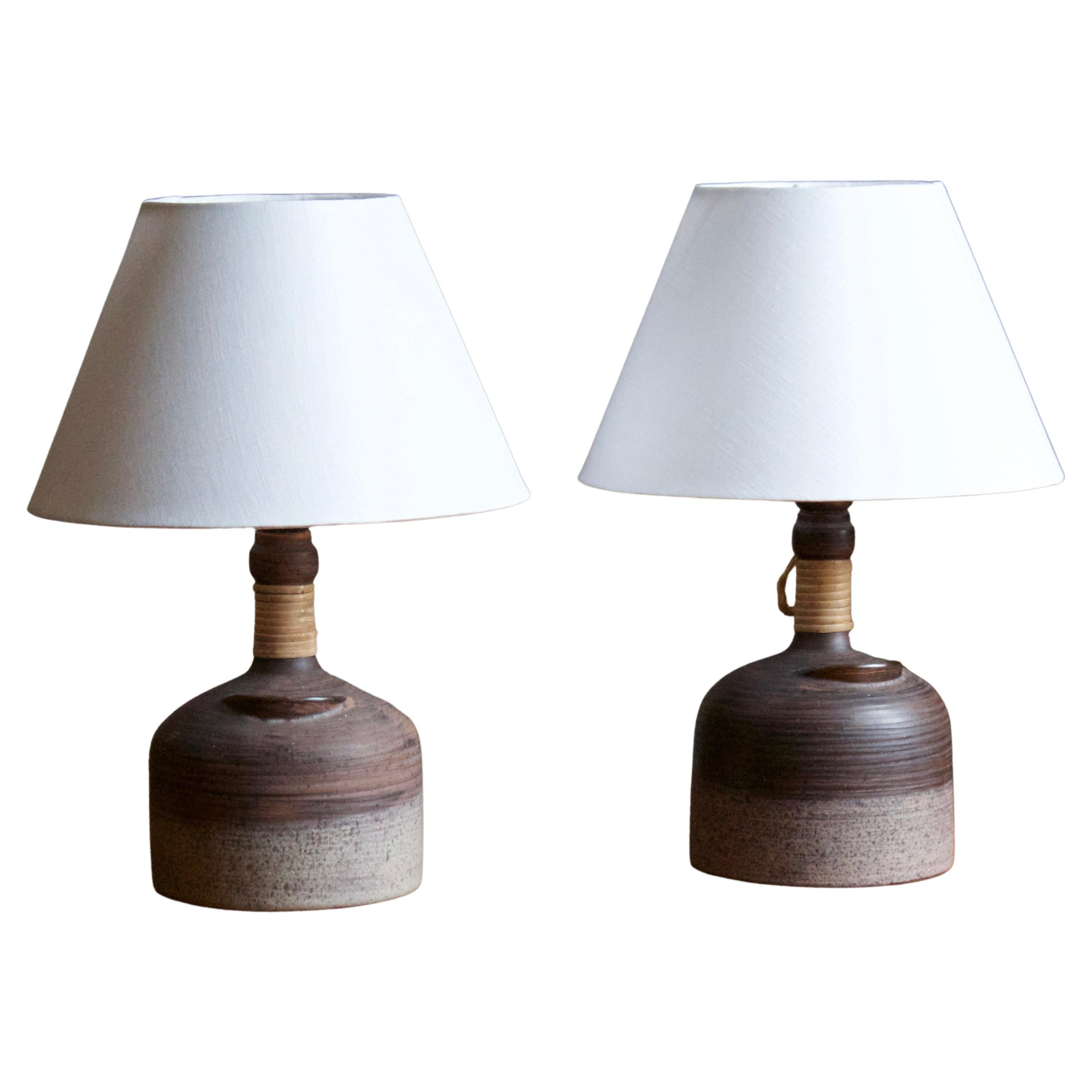 Thomas Hellström, Table Lamps, Ceramic, Rattan, Brass Nittsjö, Sweden, 1960s