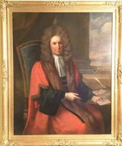 Judge Robert Dormer MP - 17th Century Oil Portrait Painting by Thomas Hill