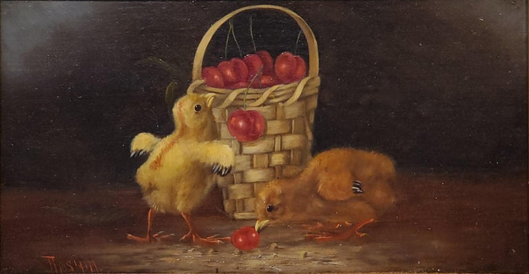 Still Life Oil Painting of Baby Chicks and Cherries by Thomas Hill For Sale 1