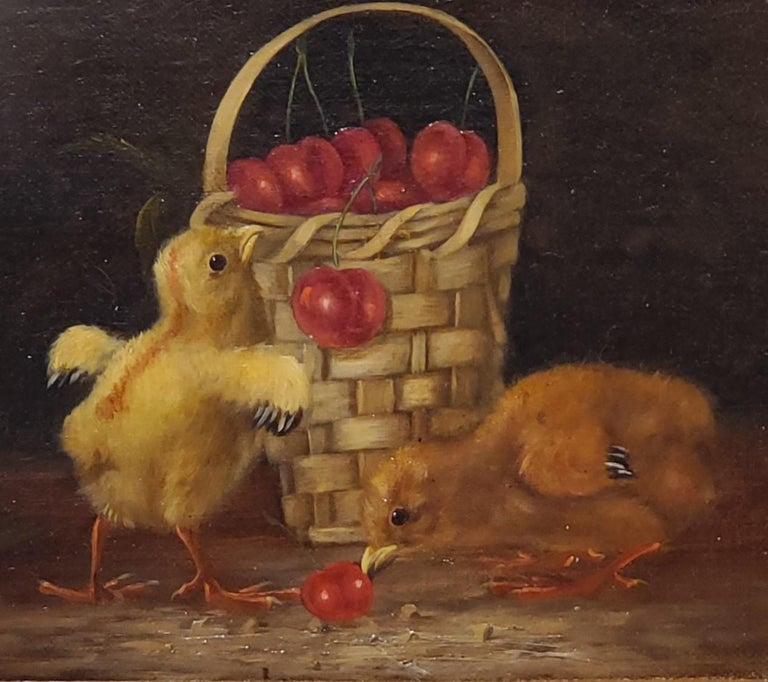 Still Life Oil Painting of Baby Chicks and Cherries by Thomas Hill For Sale 2