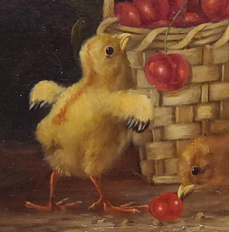 Still Life Oil Painting of Baby Chicks and Cherries by Thomas Hill For Sale 3