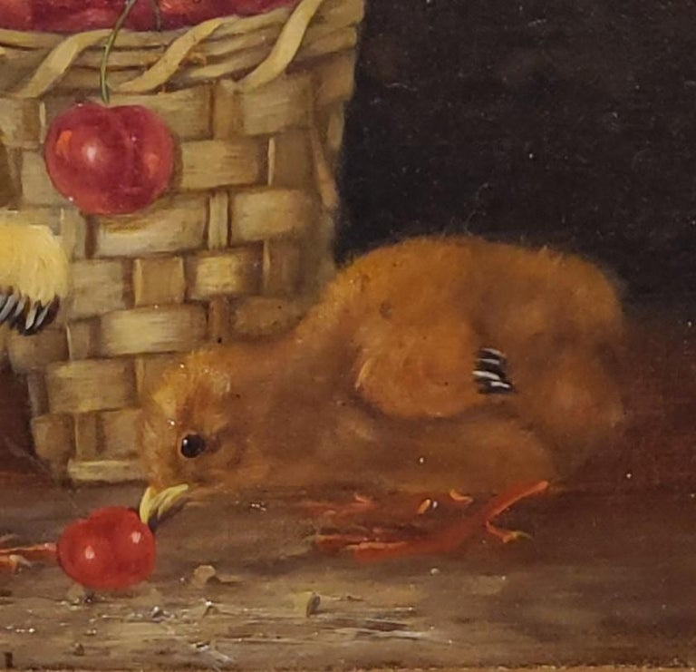 Still Life Oil Painting of Baby Chicks and Cherries by Thomas Hill For Sale 4