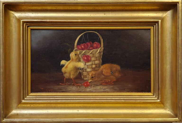 """Still Life Oil Painting of Baby Chicks and Cherries by Thomas Hill, American (1829-1908).  Rare early sill life with chicks and a bowl of cherries.  Oil on canvas measuring approximately 7 .5"""" x 13"""" signed by Thomas Hill circa 1865.  Painted before"""