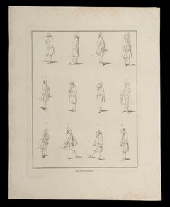 Attitudes - Original Etching by Thomas Holloway - 1810