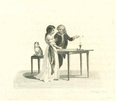 Daily Life Scene - Original Etching by Thomas Holloway - 1810