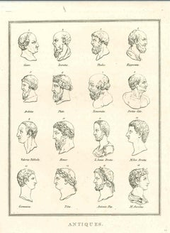 Heads of Men of Ancient Times - Original Etching by Thomas Holloway - 1810
