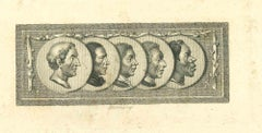 Heads of Men - Original Etching by Thomas Holloway - 1810