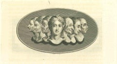 Heads of Women - Original Etching by Thomas Holloway - 1810