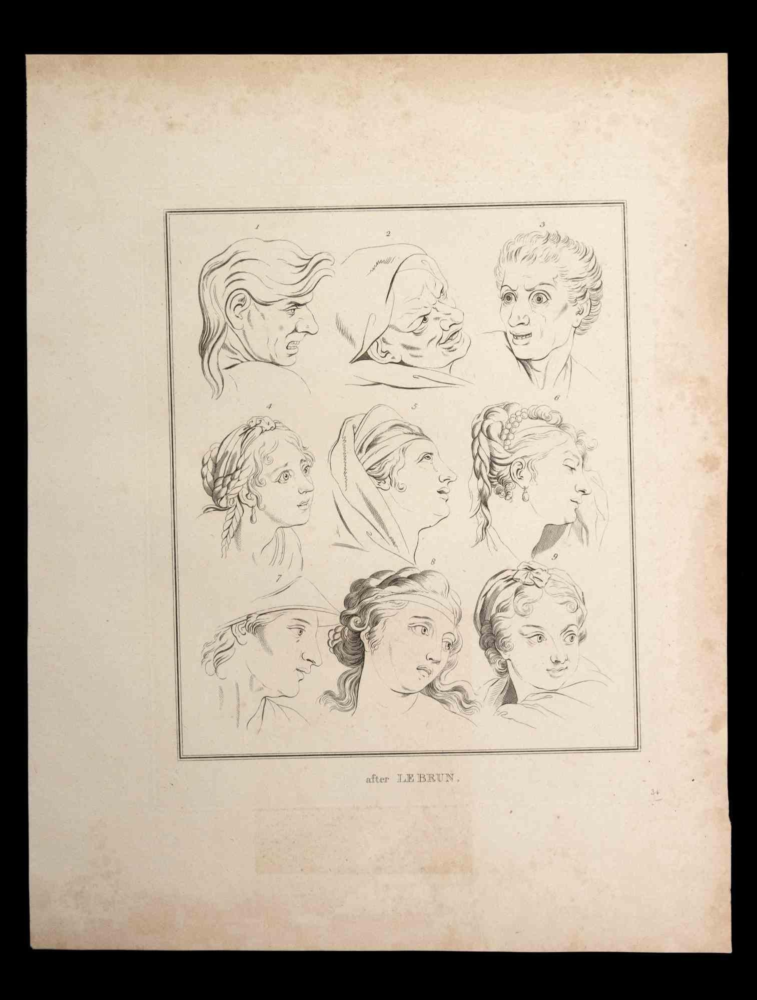 Portrait of Men and Women - Original Etching by Thomas Holloway - 1810