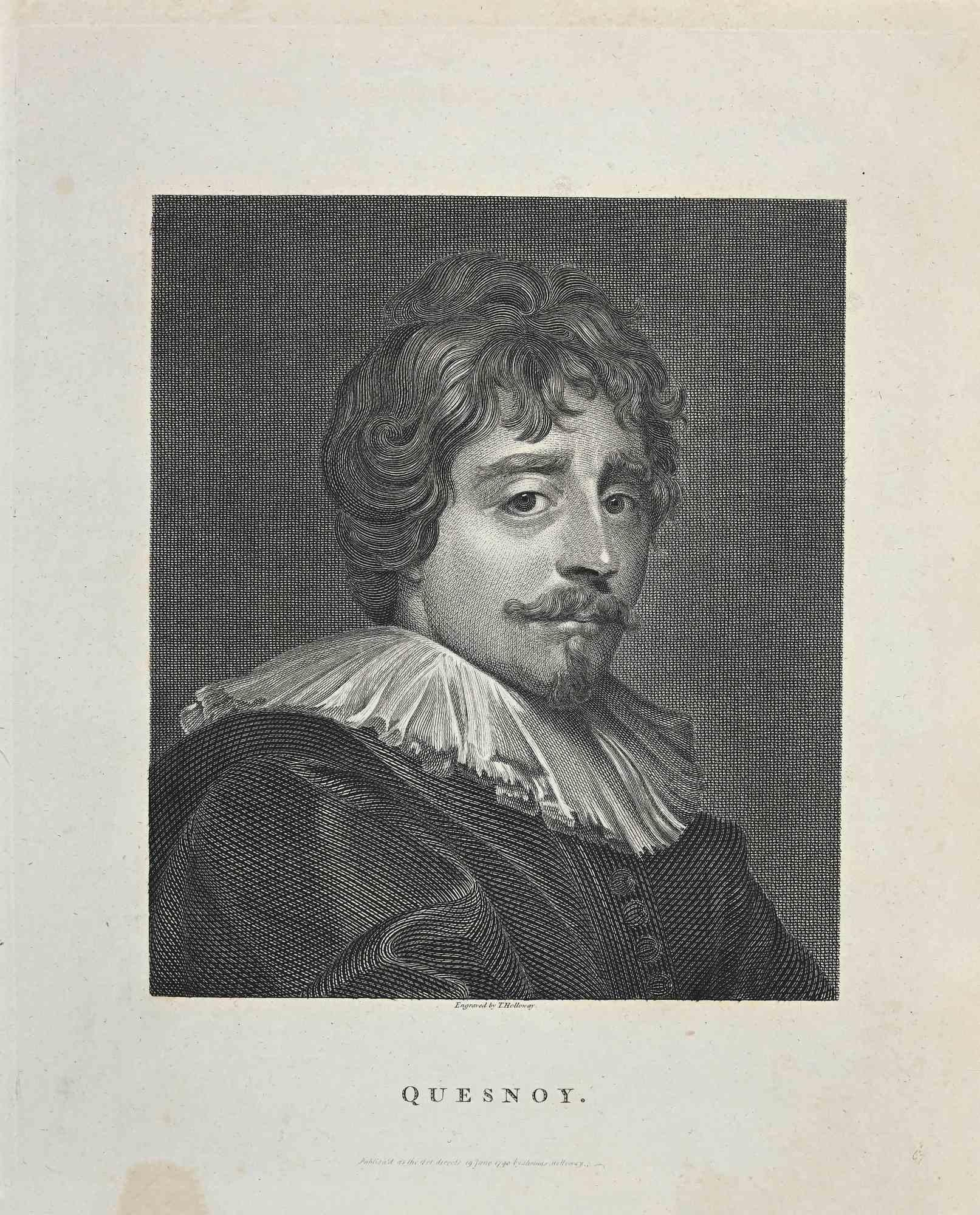 Portrait of Quesnoy - Original Etching by Thomas Holloway - 1810