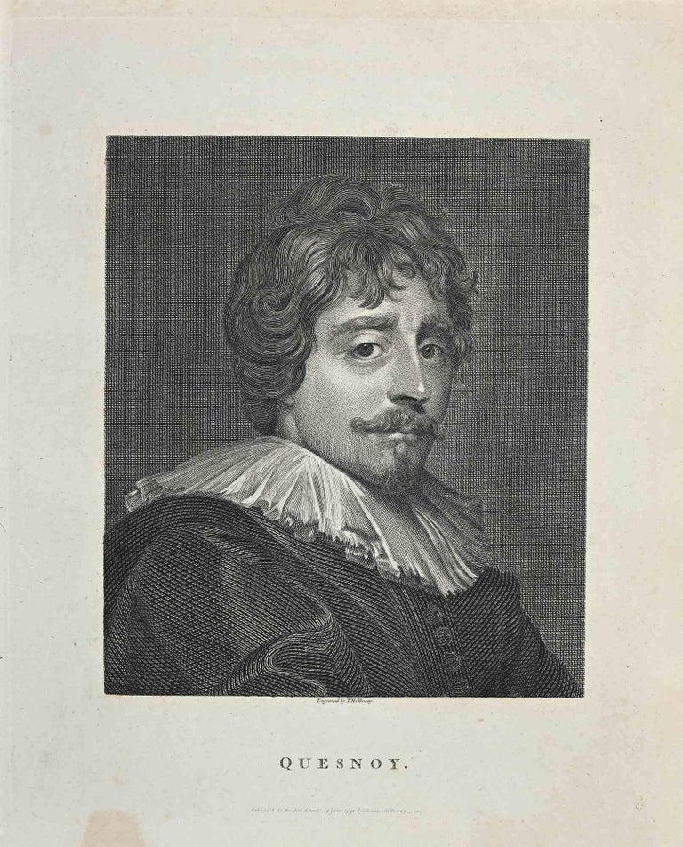 """Portrait of Quesnoy is an original artwork realized by Thomas Holloway (1748 - 1827).  Original Etching from J.C. Lavater's """"Essays on Physiognomy, Designed to promote the Knowledge and the Love of Mankind"""", London, Bensley, 1810.   A the bottom"""