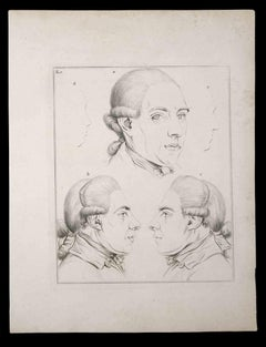 Portraits of men - Original Etching by Thomas Holloway - 1810