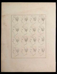 Profiles of Man - Original Etching by Thomas Holloway - 1810